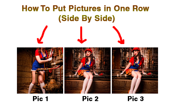 how to put pictures in one row side by side