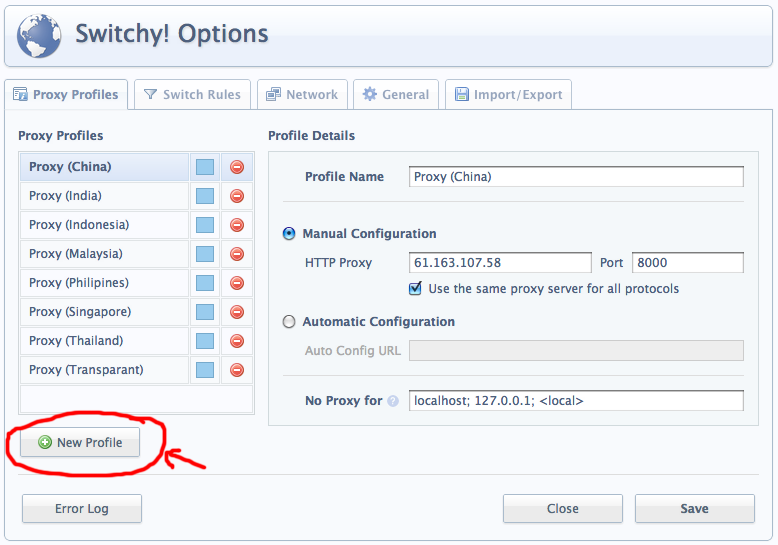 switchy options1 How to Access Blocked Website using Firefox / Chrome in Mac / Windows