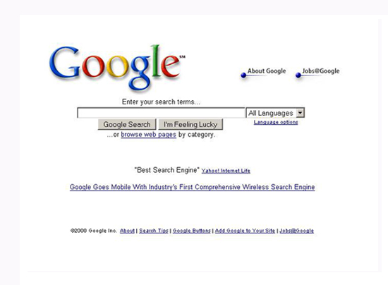 Google Search Engine Appearance Changes from 1998 to 2012