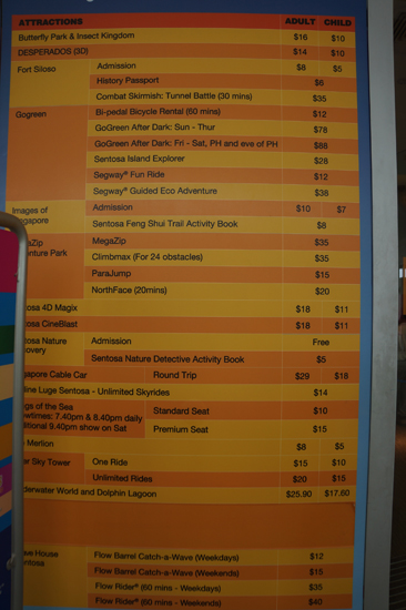 Sentosa Ticket Office Price List