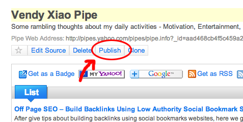 publish yahoo pipes