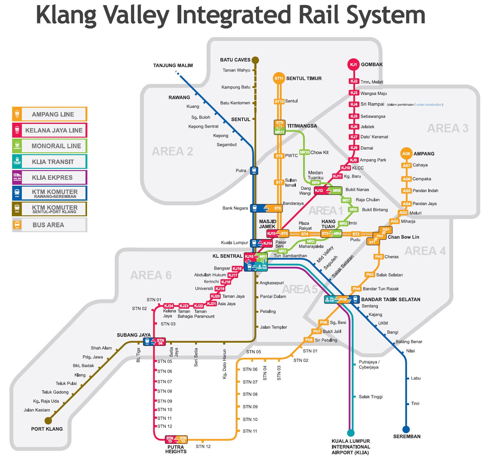 Lumpur LRT and Monorail Map