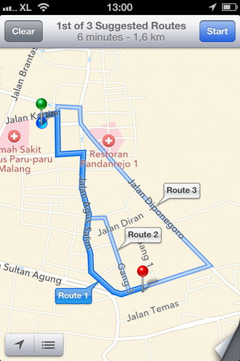 apple maps route planners