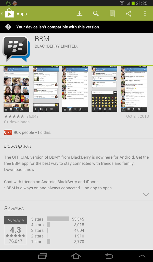 BBM not compatible with your device