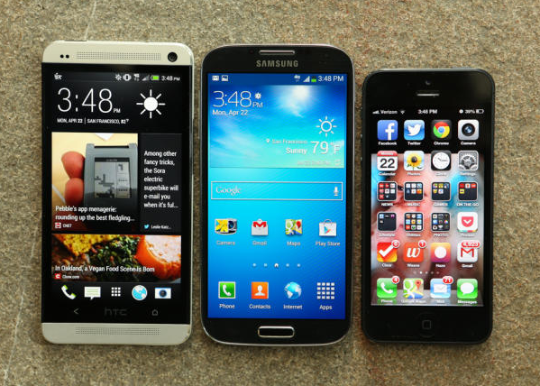 perbandingan galaxy s4 iphone 5 htc